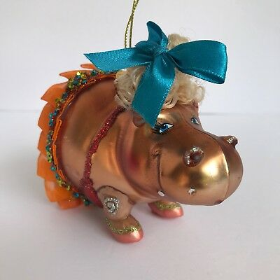 Robert Stanley Glass Ornament Hippo with Tutu Hippopotamus Christmas Decoration