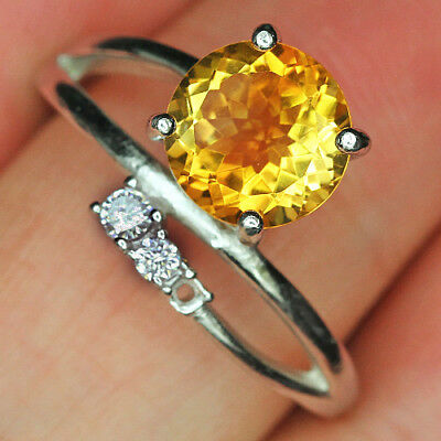 12.95CT 100% Natural 18K Gold Plated Unique Golden Citrine Faceted Ring UDQY33