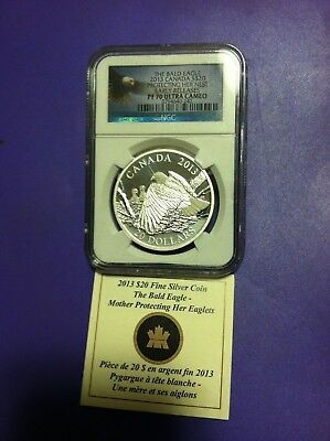 2013 Canada $20 Bald Eagle Ngc Pf70 Ultra Cameo, Protecting Her Nest