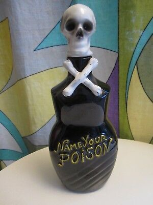 Rare vintage  Tilso Name Your Poison Skull Whiskey Decanter...great shape!!