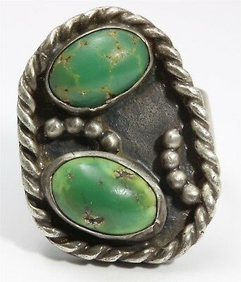 Vintage Navajo Sterling Silver Old Pawn Double Spiderweb Green Turquoise Ring