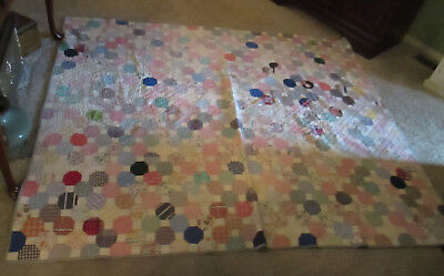 """Antique Snowball Pattern Light Weight Quilt 78"""" X 66 With Feed Sack Pieces"""