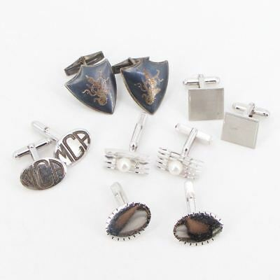 VTG Sterling Silver - Lot of 5 Assorted Cufflink Pairs NOT SCRAP - 44.5g
