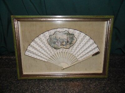 Rare Antique 1800's French Hand Fan With Gilded Mirror Framed