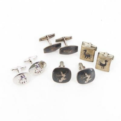 VTG Sterling Silver - Lot of 4 Assorted Cufflink Pairs NOT SCRAP - 35g