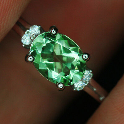 8.5CT 100% Natural 18K Gold Plated Unique Green Amethyst Faceted Ring UDQG35