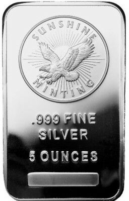 2 Bars Of 5 oz Sunshine Silver Bar (New, MintMark SI, Sealed) 10oz. Total