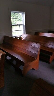 Primitive antique church pews 8' and 12'. Hand crafted, maple and oak. 25 total
