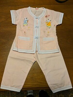 Vintage Asian Japanese Chinese Style Child Pajamas Size 2 Fun Details Embroidery