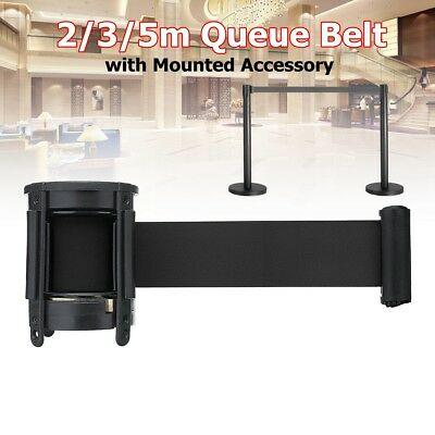 2-5m Queue Belt Retractable Crowd Control Barrier Ribbon Rope W/ Accessory Black