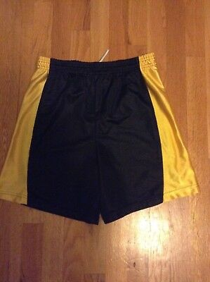 Youth Mesh Black and Yellow Athletic Shorts XL