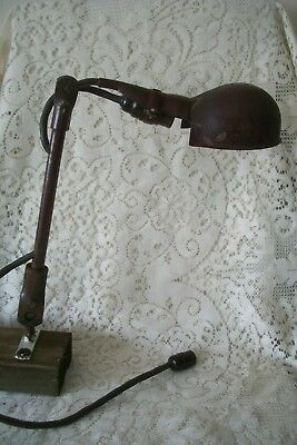 Antique Industrial Table Desk Wall Lamp Light Iron Metal Plugs Into Bulb Socket