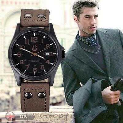 Vintage Mens Watch Waterproof Date Leather Strap Sport Quartz Army Watch Gift