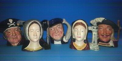 5 X Miniature Toby Jugs. Royal Doulton