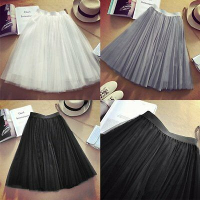 Women Lace Skirt Pleated Casual Tulle Tutu Skirt Wedding Party Birthday Dress UK