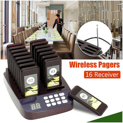 AU 16xRestaurant Coaster Pager Guest Call Wireless Paging Queuing Calling System