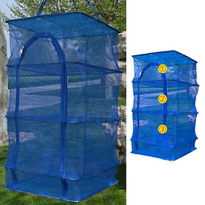 3 Layer Hanging Drying Tableware Food Dry Net Shelf Cages Fish Rack Mesh Blue