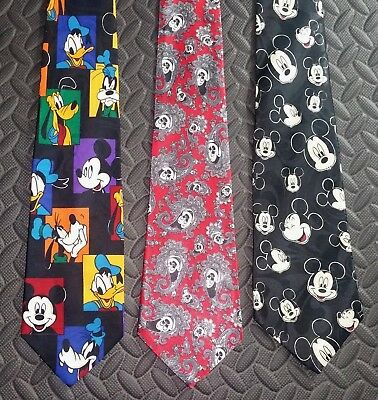 Vintage Disney Necktie Men's Pre-owned Mickey Mouse Ears Lot of 3 Donald