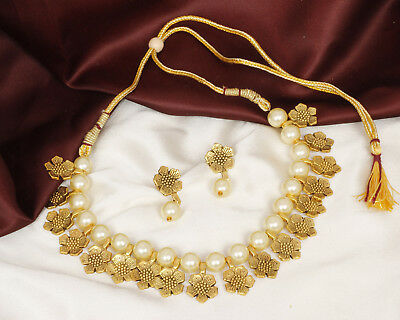 16436523eafdb PAKISTANI GOLD PLATED Antique Indian Necklace Bridal Look Wedding Jewelry  Set