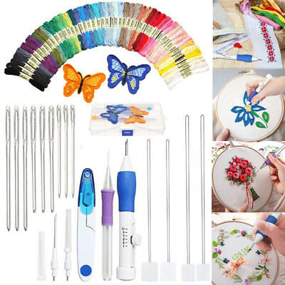AU Magic DIY Embroidery Pen Knitting Sewing Tool Kit Punch Needle Set+50 Threads