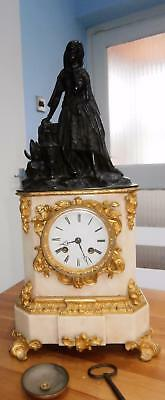 French Bronze Ormolou & Marble Bell striking Clock by Marti Silk Suspension