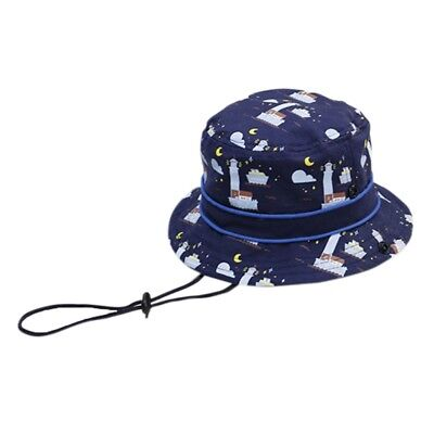 1x Baby Sun Hat Toddler Kids Summer Caps Protection Bucket With Chin Strap Ocean