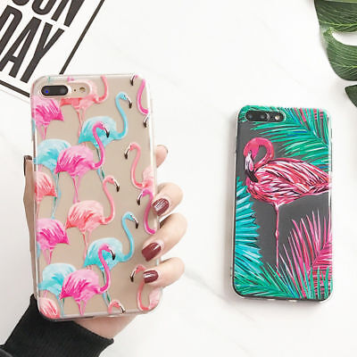 Thin Soft Silicone Flamingo Pattern Clear Gel Case Cover For iPhone X 8 7 6 Plus