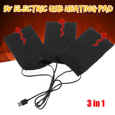 AU USB 3 Pads Electric Heating Thermal Clothes Heater Jacket Vest Mobile Warmer