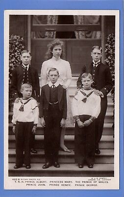 Old Vintage Rp Postcard Princess Mary Princes Albert John Henry George Royalty