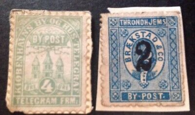 Denmark Local Post 2 X Stamps Used On Piece