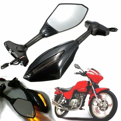 Motorcycle LED Turn Signal Rearview Mirror For Yamaha FZR YZF R1 R6 Honda Suzuki