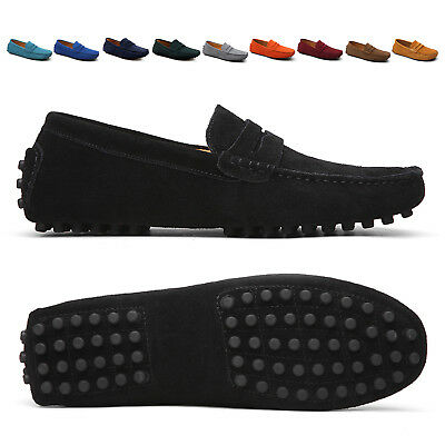 Mens Casual Driving Flat Loafers Suede Leather Moccasins Slip On Penny Shoes