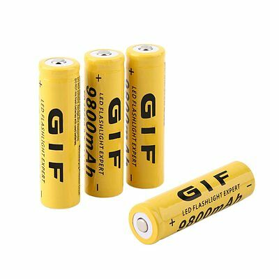 4pcs 18650 3.7V 9800mAh Yellow Li-ion Rechargeable Battery Cell For Torch CJDQ