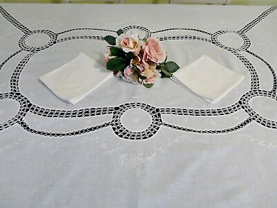 Antique White Cloth with Crocheted Inserts/Embroidery & 6 Napkins