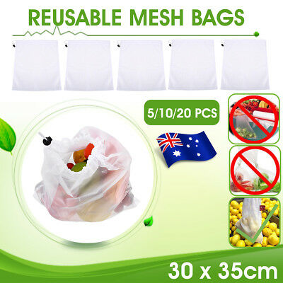 AU 20/10/5pcs Reusable Produce Bags Rope Mesh Vegetable Fruit Toys Storage Pouch