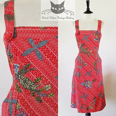 Tiki Tropical Floral Striped Print 190S Vintage Red Wiggle Sun Dress 10 S