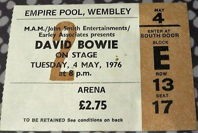 David Bowie Concert Ticket - Wembley Empire Pool - May 4 1976 - Isolar Tour