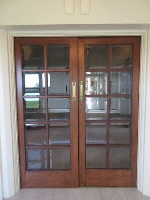 FRENCH DOORS- TIMBER, 20 BEVILLED EDGE GLASS PANE , PERIOD FITTINGS,  #1  ,1te