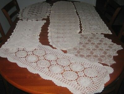6 Large Vintage Crocheted Lace Table Runners/doilies ~ Cotton ~ Cream & Beige