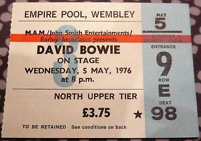David Bowie Concert Ticket - Wembley Empire Pool - May 5 1976 - Isolar Tour
