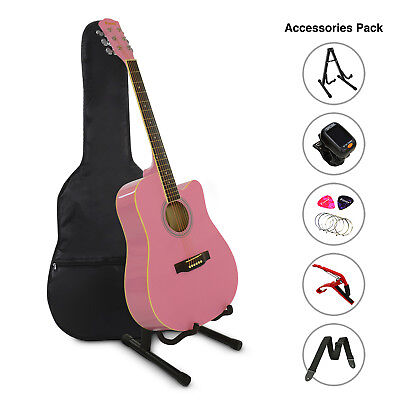 "41"" Inch Wooden Guitar Set Folk Acoustic Classical Cutaway Steel String Bag Pink"