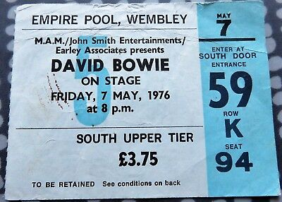 David Bowie Concert Ticket - Wembley Empire Pool - May 7 1976 - Isolar Tour