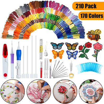 AU 210 In 1 DIY Embroidery Needle Pen Knitting Sewing Tool Punch w/ 170 Threads