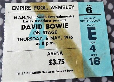 David Bowie Concert Ticket - Wembley Empire Pool - May 6 1976 - Isolar Tour