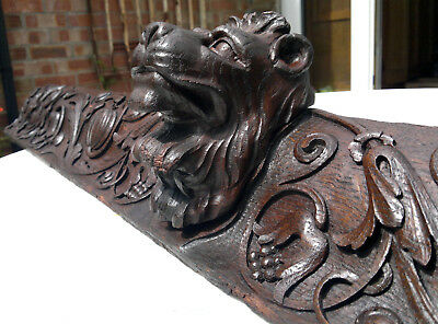 "Antique English Carved Oak Cornice Pediment Lion Head Architectural 44.5"" Across"