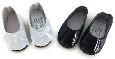 """White & Black Dress Shoes for 14.5"""" American Girl Wellie Wishers Wisher Dolls"""