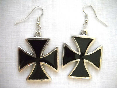 MALTESE IRON CROSS w BLACK INLAY PEWTER FULL PENDANT SIZE RIDER / BIKER EARRINGS