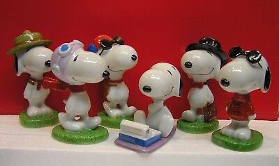 Flambro Peanuts Snoopy Personas Series Porcelain Figurines Complete Set of 6
