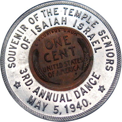 1938 Encased Cent Chicago Illinois Jewish Temple Isaiah Israel Senior Dance 1940