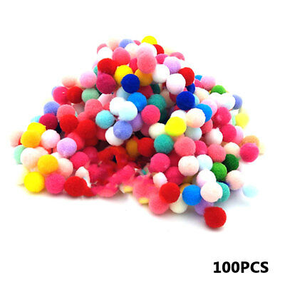 100 Pieces Small Fluffy Pom Poms for Decor Arts Crafts mix color 10mm